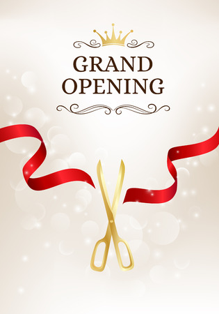 Grand opening banner with cut red ribbon and gold scissors. Vector background with light effect