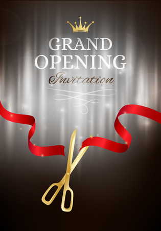 commemorate: Grand opening invitation card with cut red ribbon and gold scissors. Dark vector background with light effect Illustration
