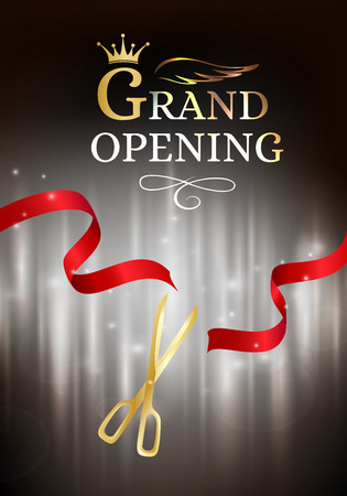 commemorate: Grand opening banner with cut red ribbon and gold scissors. Dark vector background with light effect Illustration
