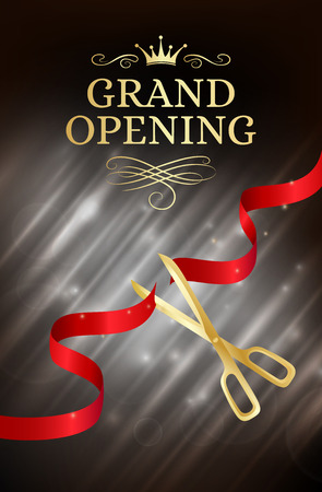Grand opening banner with cut red ribbon and gold scissors. Dark vector background with light effect Vettoriali