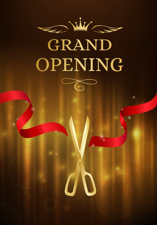 Grand opening banner with cut red ribbon and gold scissors. Dark vector background with light effect Иллюстрация