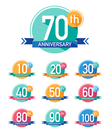 Flat design anniversary emblems. Set of anniversary icons with long shadows.