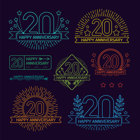 20th: Anniversary 20th signs collection in outline style. Celebration labels with sunburst elements.