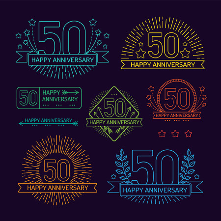 50th: Anniversary 50th signs collection in outline style. Celebration labels with sunburst elements.