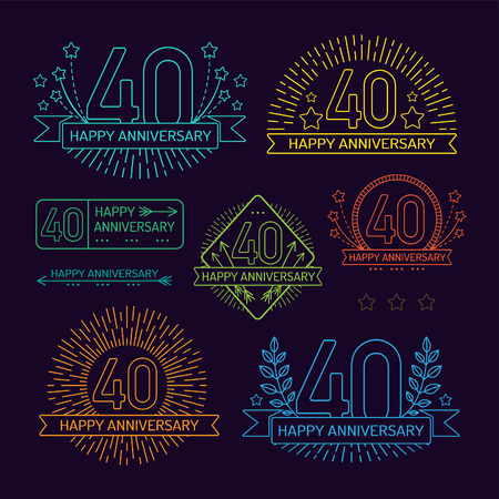 Anniversary 40th signs collection in outline style. Celebration labels with sunburst elements.