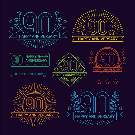 90th: Anniversary 90th signs collection in outline style. Celebration labels with sunburst elements.
