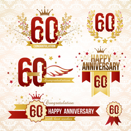 60th: Set of anniversary design elements, celebtation decorations