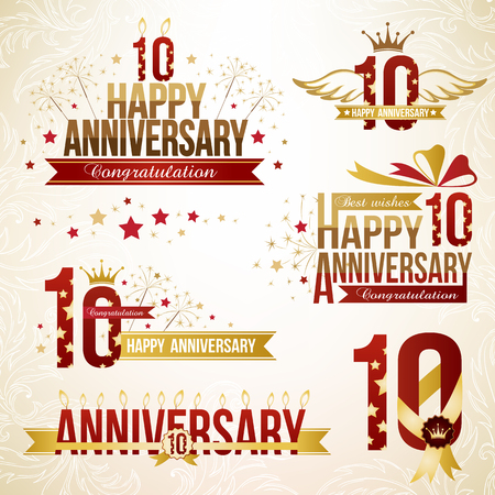 Set of anniversary design elements, celebtation decorations