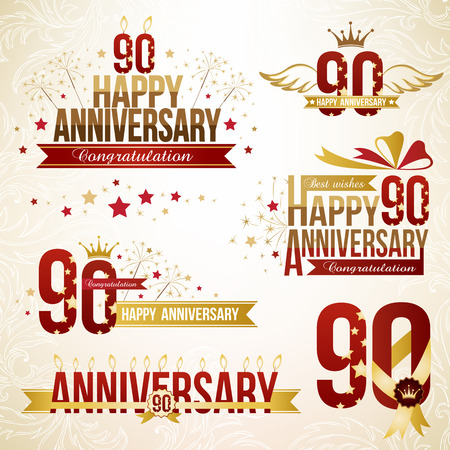 90th: Set of anniversary design elements, celebtation decorations