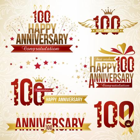 hundred: Set of anniversary design elements, celebtation decorations