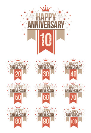 one hundred and ten: Set of anniversary design elements with ribbons