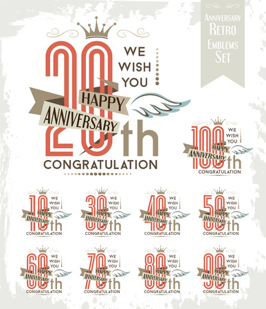 one hundred and ten: Set of anniversary design elements wth wing decorations