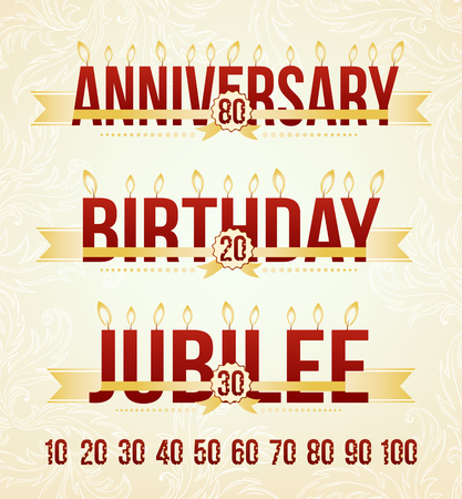 age 60: Anniversary, Birthday and Jubilee emblems. Celebration design elements with place for sample date and candles on top of the letters. Illustration