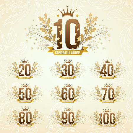 70 80 years: Set of anniversary design emblems in retro style.