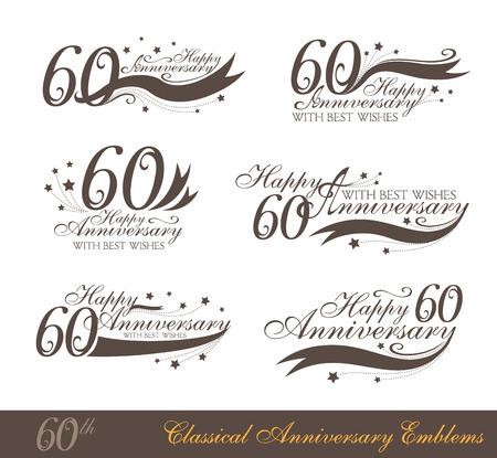 Aniversario colección 60º signo en estilo clásico. Plantilla de aniversario, cumpleaños y Jubilee emblemas con el número espacio editable y copia en las cintas. Ilustración de vector