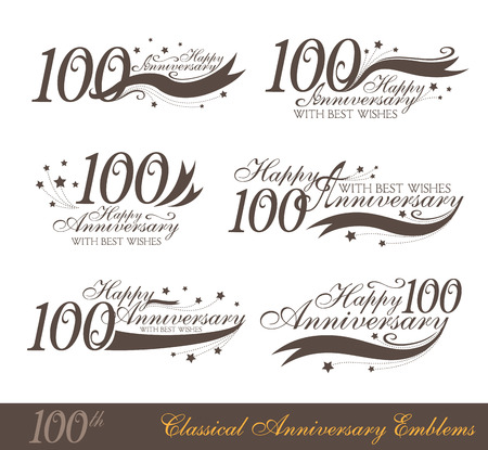 Anniversary 100th sign collection in classic style. Template of anniversary, birthday and jubilee emblems with number editable and copy space on the ribbons.