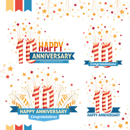 10th: Anniversary 10th emblems with fireworks numbers, sparklers and ribbons with congratulations. Set of 10th anniversary design elements.