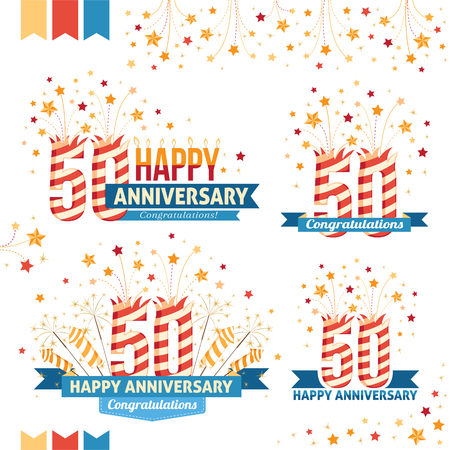 50th: Anniversary 50th emblems with fireworks numbers, sparklers and ribbons with congratulations. Set of 50th anniversary design elements.