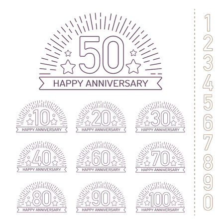 70 80 years: Anniversary signs collection in outline style. Celebration labels with sunburst elements.