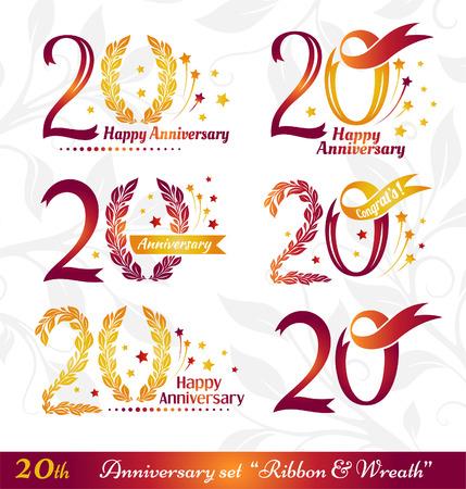 20ste Verjaardag Emblemen Sjablonen Van Jubileum Verjaardag En