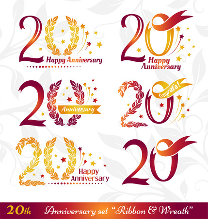 20th: 20th anniversary emblems set. Celebration icons with numbers ribbons, wreath and fireworks
