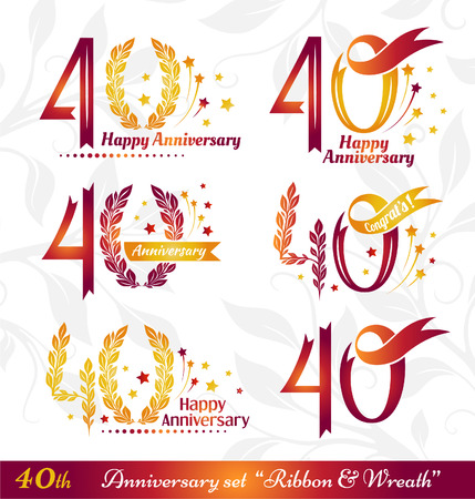 40th anniversary emblems set. Celebration icons with numbers ribbons, wreath and fireworks