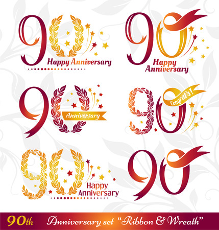 90th: 90th anniversary emblems set. Celebration icons with numbers ribbons, wreath and fireworks