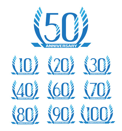 60th: Anniversary emblems in abstract style.10th, 20th, 30th, 40th, 50th, 60th, 70th, 80th, 90th, 100th anniversary sign collection. Illustration