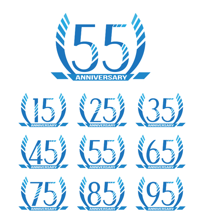 Anniversary emblems in abstract style. 15th, 25th, 35th, 45th, 55th, 65th, 75th, 85th, 95th anniversary sign collection.