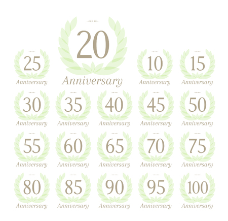 50 to 55 years: Anniversary sign collection with tender green leaves wreath Illustration