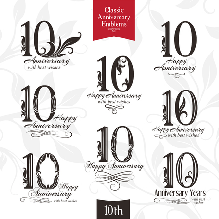 10th: 10th anniversary emblems. Templates of anniversary, birthday and jubilee symbols