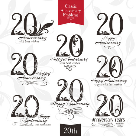 20th: 20th anniversary emblems. Templates of anniversary, birthday and jubilee symbols