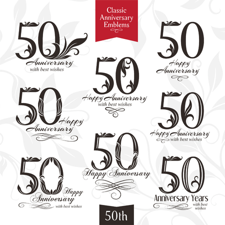 50th: 50th anniversary emblems. Templates of anniversary, birthday and jubilee symbols Illustration