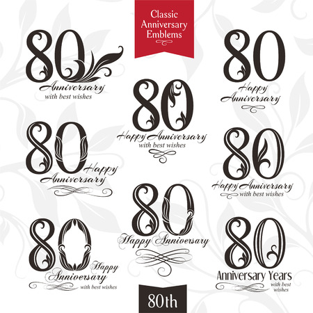 commemoration: 80th anniversary emblems. Templates of anniversary, birthday and jubilee symbols Illustration