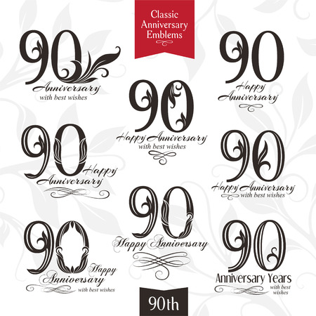 90th: 90th anniversary emblems. Templates of anniversary, birthday and jubilee symbols