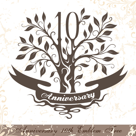 10th: Anniversary 10th emblem tree in classic style. Template of anniversary, birthday and jubilee emblem  with copy space on the ribbon.