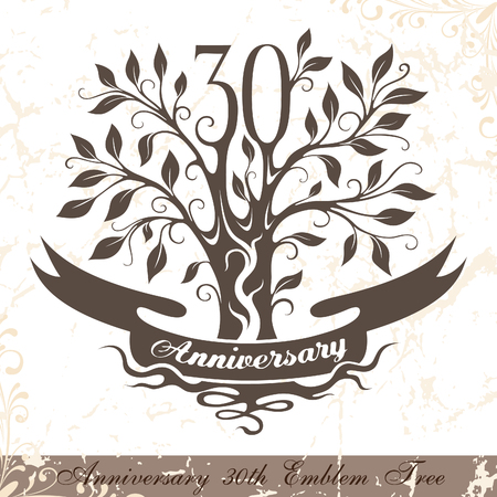 Anniversary 30th emblem tree in classic style. Template of anniversary, birthday and jubilee emblem  with copy space on the ribbon.