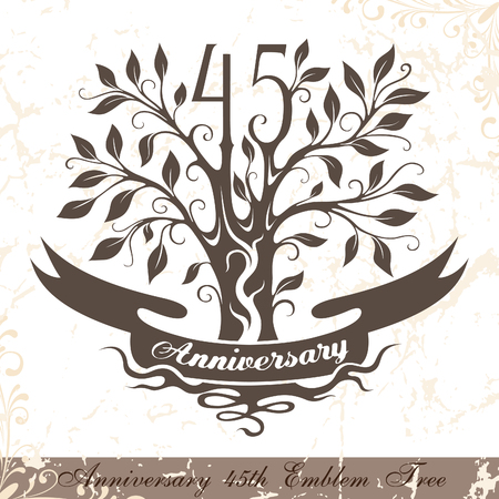 45th: Anniversary 45th emblem tree in classic style. Template of anniversary, birthday and jubilee emblem  with copy space on the ribbon. Illustration