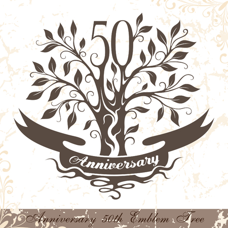 50th: Anniversary 50th emblem tree in classic style. Template of anniversary, birthday and jubilee emblem  with copy space on the ribbon.