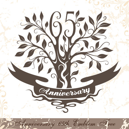 65th: Anniversary 65th emblem tree in classic style. Template of anniversary, birthday and jubilee emblem  with copy space on the ribbon.