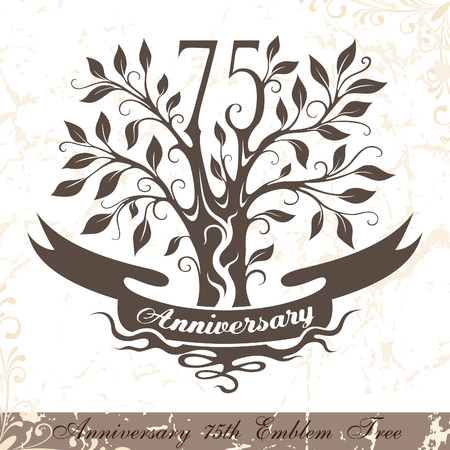 Anniversary 75th emblem tree in classic style. Template of anniversary, birthday and jubilee emblem  with copy space on the ribbon. Illustration