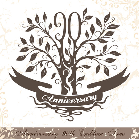 90th: Anniversary 90th emblem tree in classic style. Template of anniversary, birthday and jubilee emblem  with copy space on the ribbon.