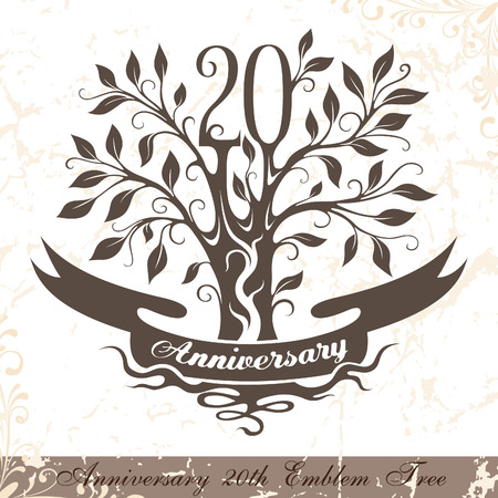 20th: Anniversary 20th emblem tree in classic style. Template of anniversary, birthday and jubilee emblem  with copy space on the ribbon. Illustration