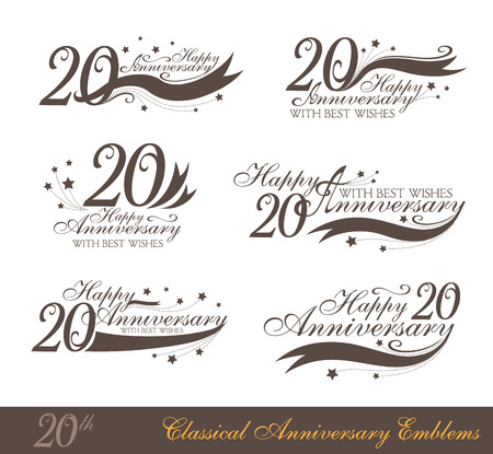 Anniversary 20th sign collection in classic style. Template of anniversary, birthday and jubilee emblems  with number editable and copy space on the ribbons.