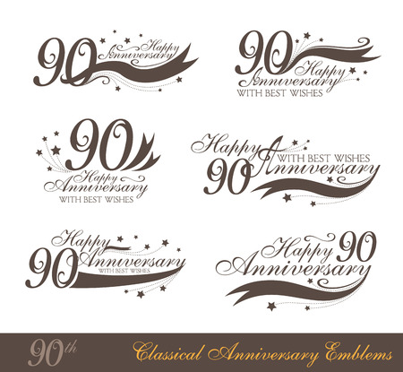 90th: Anniversary 90th sign collection in classic style. Template of anniversary, birthday and jubilee emblems  with number editable and copy space on the ribbons.