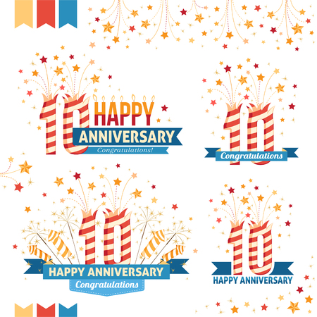 ten years jubilee: Anniversary 10th emblems with fireworks numbers, sparklers and ribbons with congratulations. Set of 10th anniversary design elements.