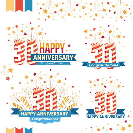 30th: Anniversary 30th emblems with fireworks numbers, sparklers and ribbons with congratulations. Set of 30th anniversary design elements.