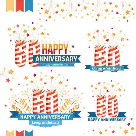 60th: Anniversary 60th emblems with fireworks numbers, sparklers and ribbons with congratulations. Set of 60th anniversary design elements.