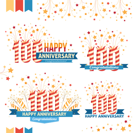 hundred: Anniversary 100th emblems with fireworks numbers, sparklers and ribbons with congratulations. Set of 100th anniversary design elements.