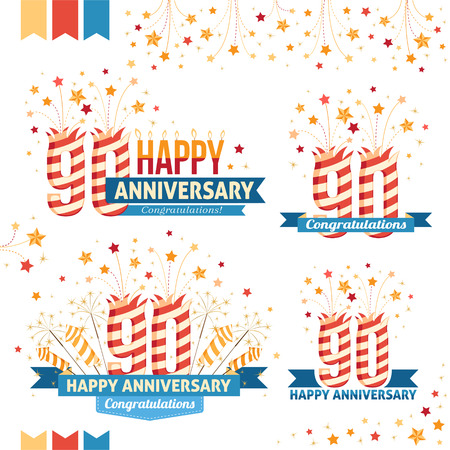 90th: Anniversary 90th emblems with fireworks numbers, sparklers and ribbons with congratulations. Set of 90th anniversary design elements.